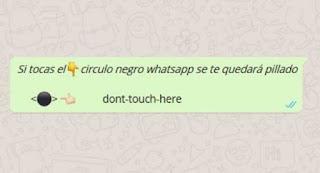 si tocas el circulo negro el whatsapp se te quedará colgado