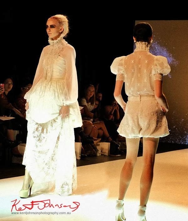 Skye Hay, soft feminine white lace dresses, New Byzantium : Raffles Graduate Fashion Parade 2013 - Photography by Kent Johnson.
