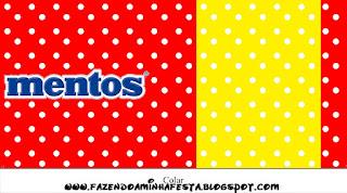 Etiquetas de Mentos Rojo, Amarillo y Lunares Blancos para imprimir gratis.