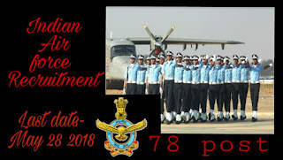 Indian air force recruitment 2018 for 78 civilian post