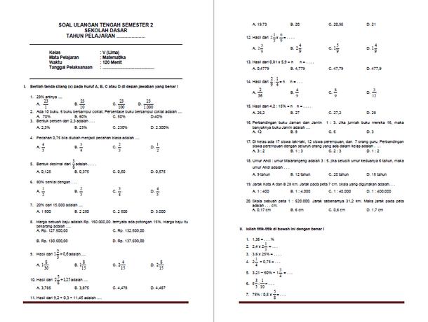 Soal UTS Matematika Kelas 5 SD MI Semester 2