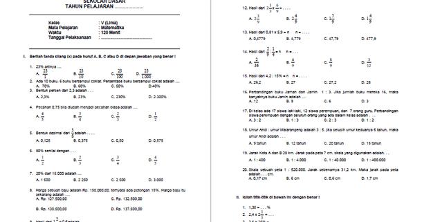 Soal UTS Matematika Kelas 5 SD MI Semester 2  Arsip Guru