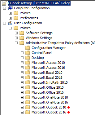 now if we open a gpo for editing we should see a folder for access excel outlook 2016 etc next to whatever previous versions of office we may have
