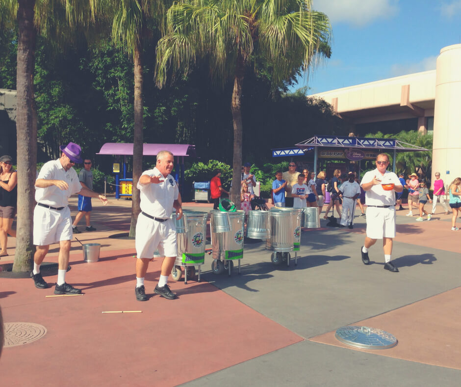 The Jammitors dance in the street at Epcot, Walt Disney World. This is why it's okay to act like a child in Walt Disney World.
