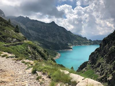 Trail from Rifugio Curò to Rifugio Barbellino and the Reservoir of Berbellino.