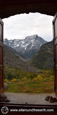 Great mountain view from a hotelroom of hotel Le Gioberney in the Valgaudemar Valley, Ecrins National Park, Alps of France