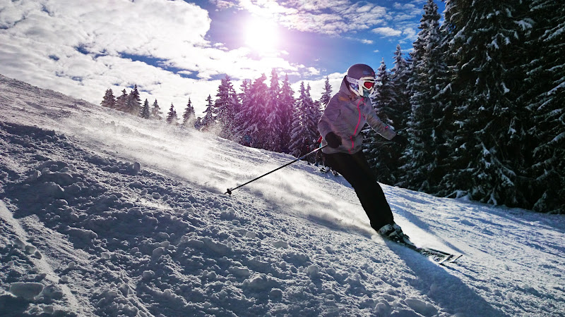 Winter Sports. Girl Skiing