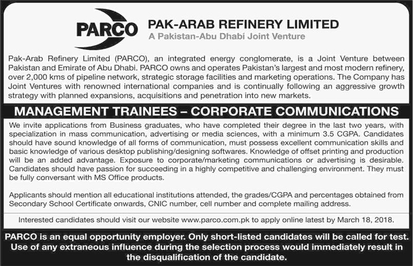 PARCO Management Trainee Program 2018  Jobs in Pakistan