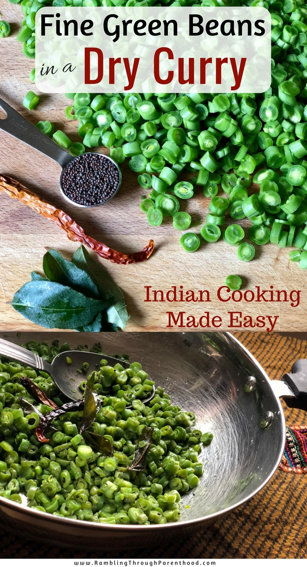 This recipe uses fine green beans and transforms them into a dry curry while still retaining their bite, crunch and flavour. Serve this as a classic vegetarian curry or spice up a more traditional meat dish with these curried beans on the side. Indian cooking made easy!