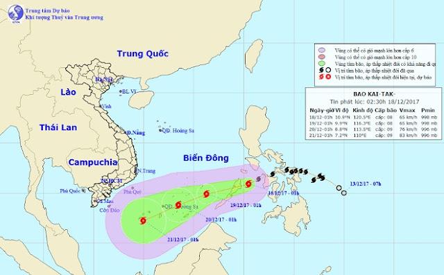 Trưa nay, bão Kai-tak giật cấp 10 đổ bộ vào Biển Đông