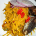 Nigerian Abacha and Eja Dindin Garnished With Onions