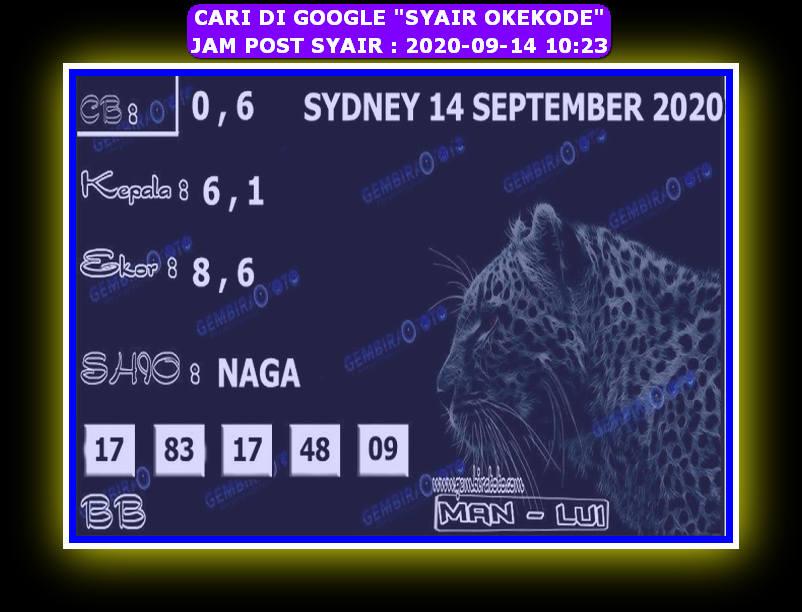 Kode syair Sydney Senin 14 September 2020 158