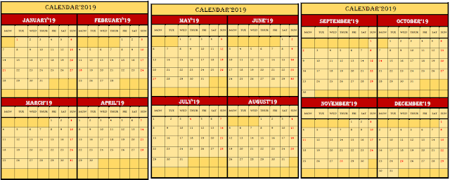 Free Printable 2019 Calendar in Word