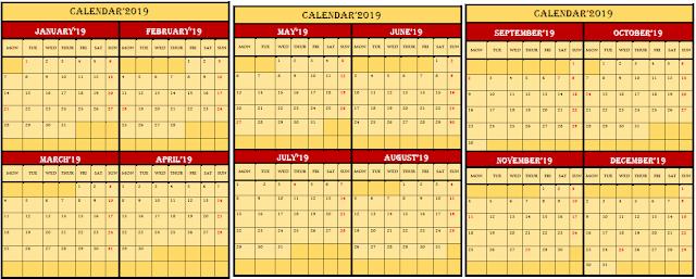 Free Printable 2019 Calendar in Word
