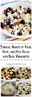 Tomato, Hearts of Palm, Olive, and Feta Salad with Basil Vinaigrette found on KalynsKitchen.com