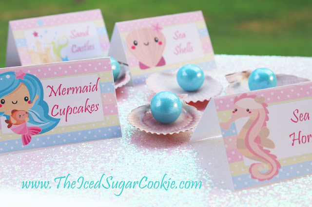 Mermaid Food Label Cards And Printable Cupcake Topper Templates For A DIY Mermaid Birthday Party       Mermaid Food Label Cards And Free Printable Cupcake Topper Templates  For A DIY Mermaid Birthday Party