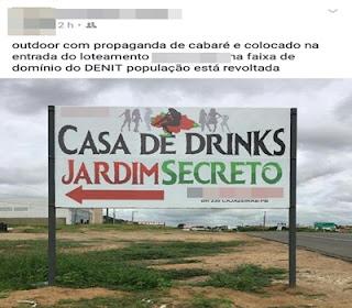 Polêmica: Outdoor de novo 'cabaré' em Cajazeiras causa alvoroço nas redes sociais