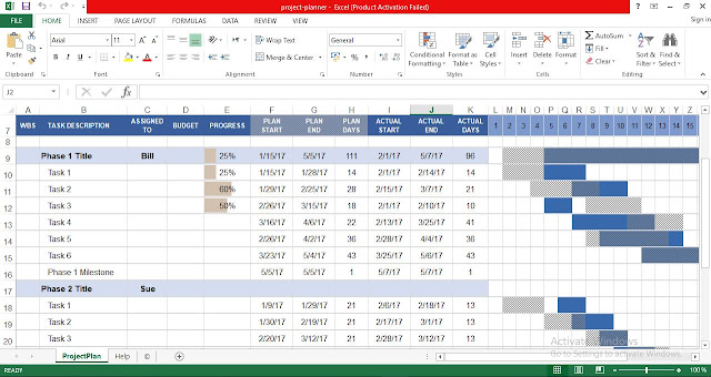 project planner with gantt chart for excel free project management