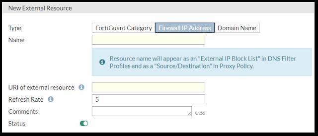 Kontrolka w FortiGate służąca podpinaniu blacklisty z adresami IP