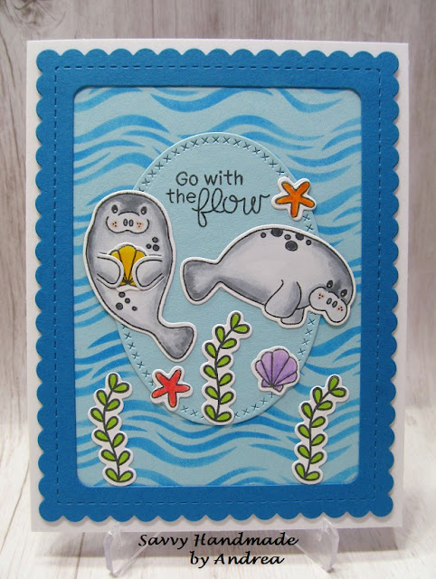Go with the flow by Andrea features Manatee-rific, Waves, and Frames & Flags by Newton's Nook Designs; #newtonsnook