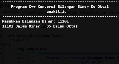 cara membuat sebuah program c++ untuk mengkonversi bilangan Biner ke Oktal. Gambar diatas adalah merupakan hasil atau review dari program C++ Mengkonversi Bilangan Biner ke Oktal