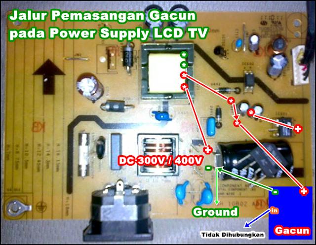 Jalur Tegangan untuk Memasang Gacun pada Power Switching LED/LCD TV