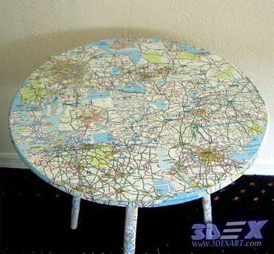 Art furniture with world maps, world map art decor, table with world map