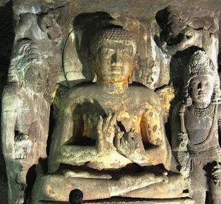 The colossal Buddha idol in the Ajanta cave 4 shrine
