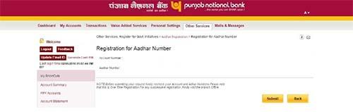 PNB Submit Aadhaar