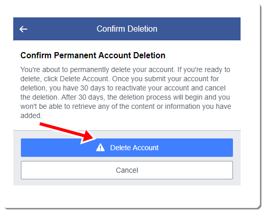 Delete Facebook Account another step with image