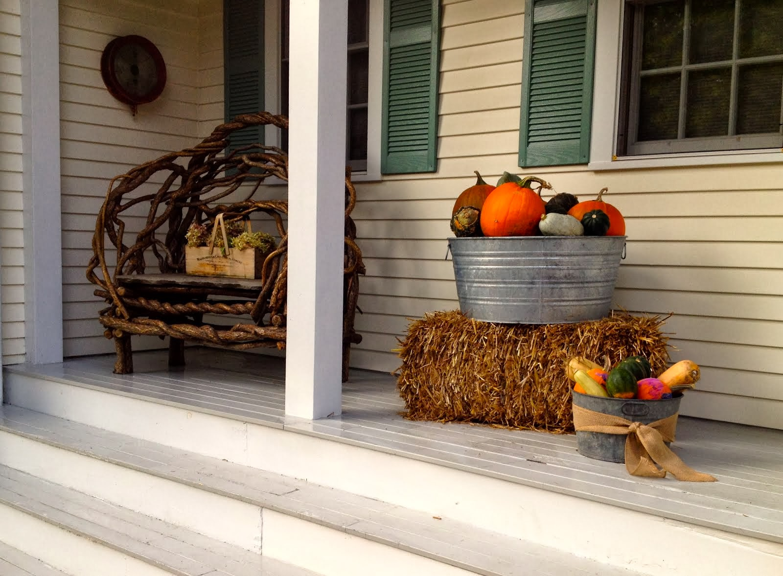 Side porch in the fall