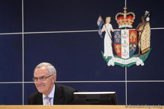 The Honourable Justice Lyn Stevens QC (chair), Government Inquiry into Havelock North Drinking Water at the Hastings District Court, Hastings. photograph