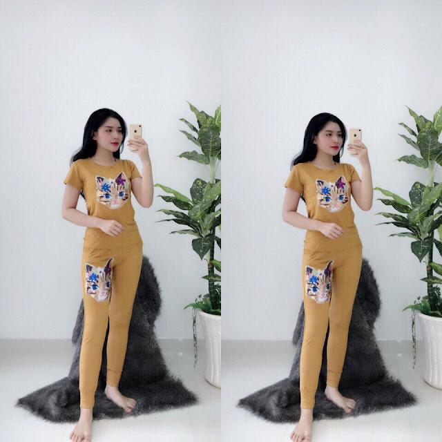 Kiểu đồ bộ tay ngắn quần dài da cá Cần Thơ