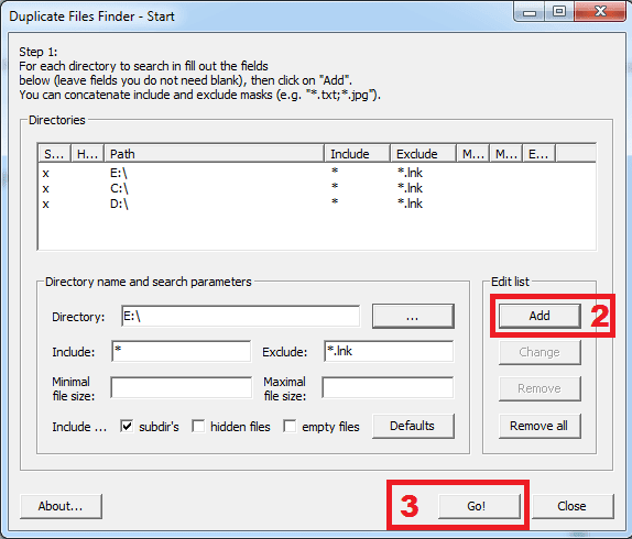 Cara menggunakan dupliacte files finder tahap 2