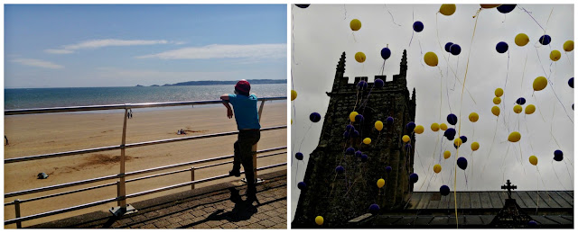 A collage featuring Swansea Seafront and Bere Regis church during a balloon release.
