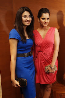Sania Mirza in Red Mini Dress at Shantanu Nikhil Designer Store Launch