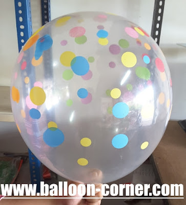 Balon Latex Transparant Polkadot Random Colour