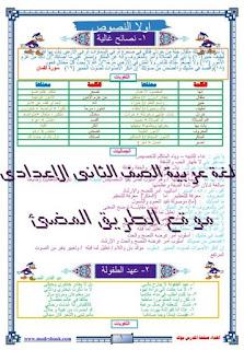 المذكرة الاقوى فى اللغة العربية للصف الثانى الاعدادى الفصل الدراسى الاول .