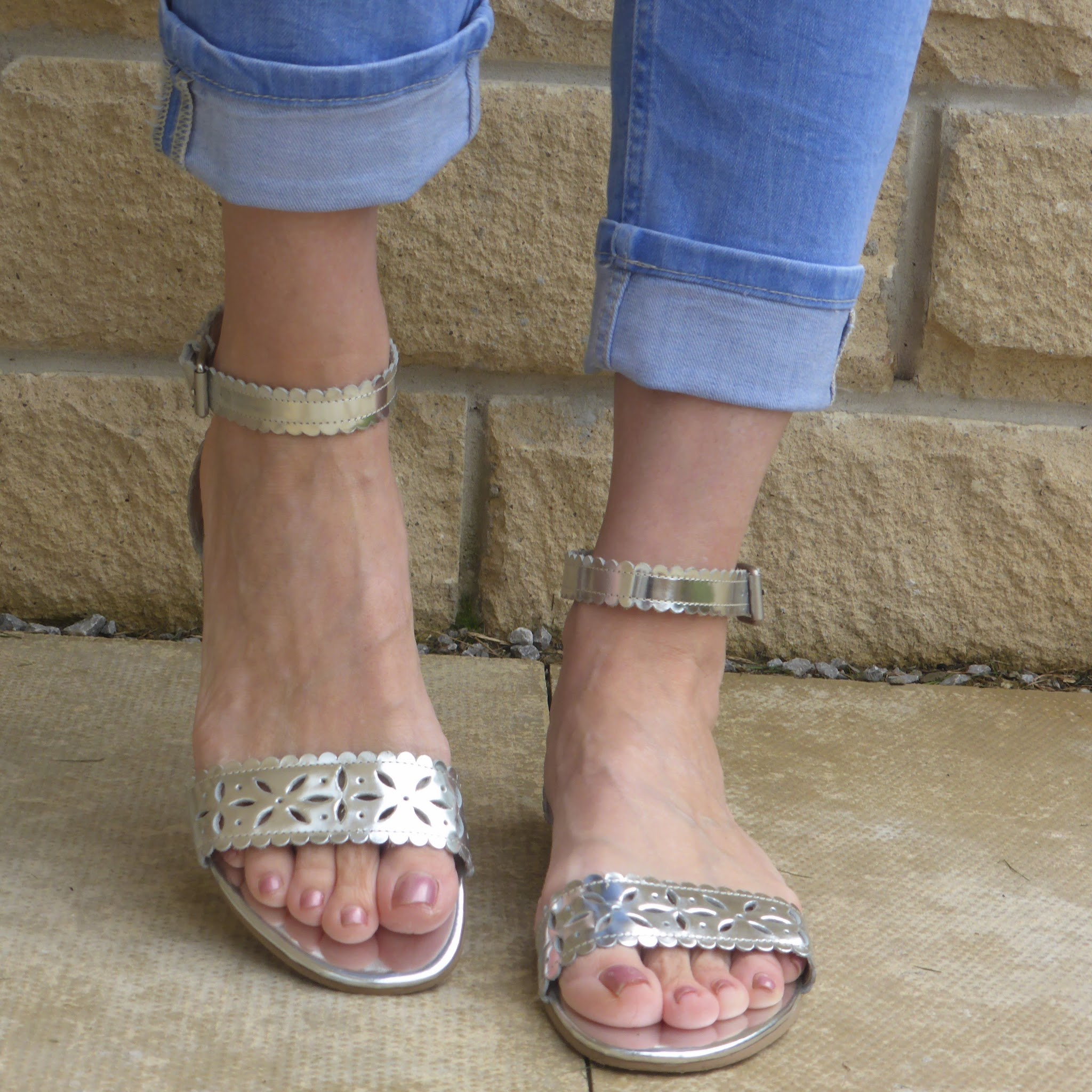 Boden silver cut out sandals