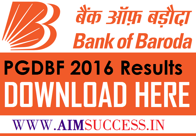 bank of baroda result 2018 pgdbf