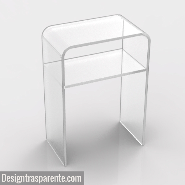 Comodino trasparente salvaspazio in plexiglass