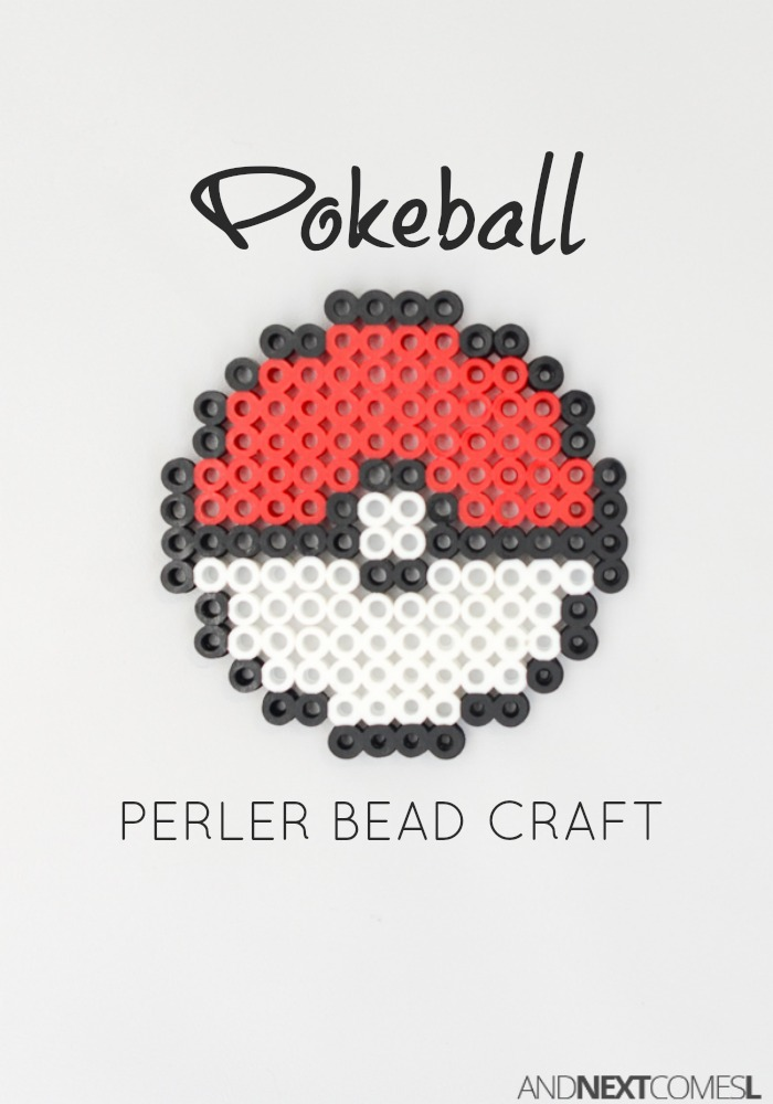 Pokeball perler bead craft and next comes l for Bead craft ideas for kids