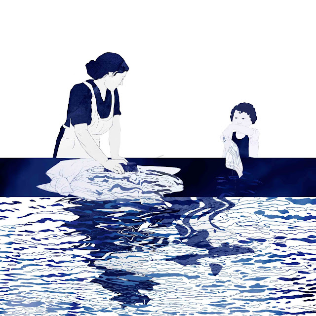 azulejo, ceramica azul, mujer, niña, lavadero