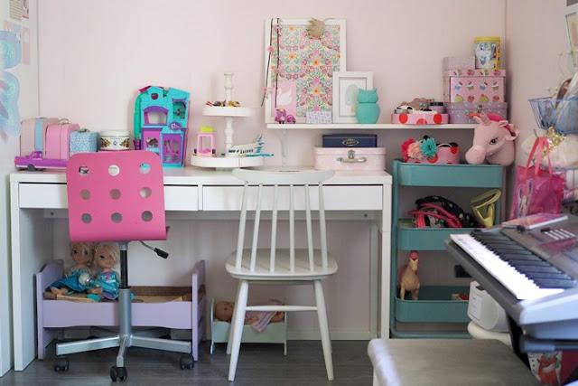 Lastenhuoneen sisustus pienten tyttöjen huoneesta isojen tyttöjen huoneeksi