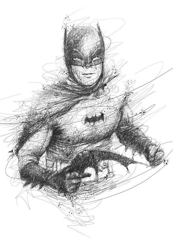 01-Batman-Adam-West-Vince-Low-Scribble-Drawing-Portraits-Super-Heroes-and-More-www-designstack-co