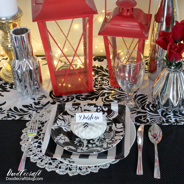 I used black ink and an oblique calligraphy pen to write the place cards and washi tape to tape them to the vase place setting. & Doodlecraft: DIY Wedding: Classic Black White Red Centerpieces and ...
