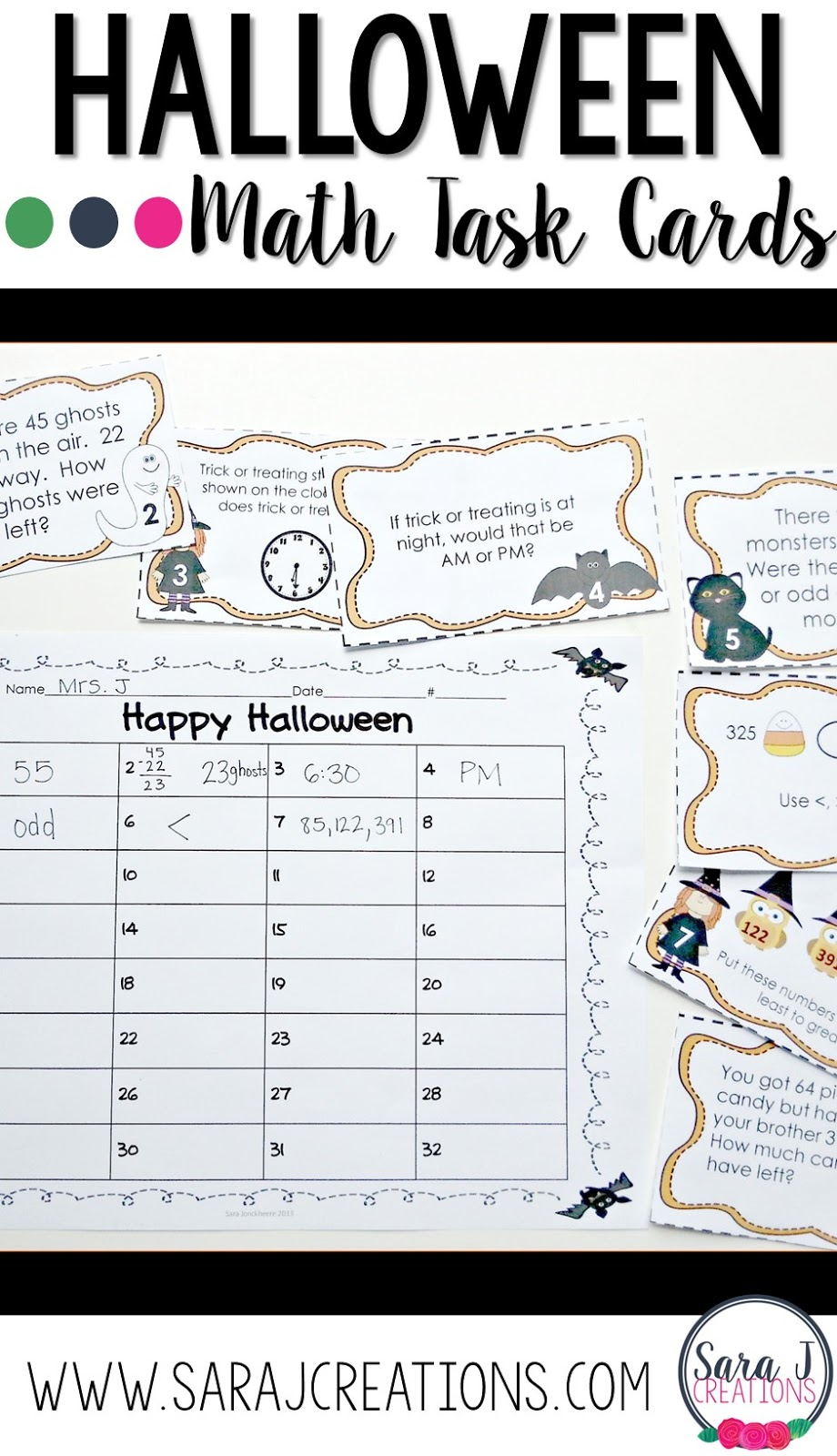 Math Task Cards with a Halloween theme!  Perfect for using in the classroom during October.  Great way to review place value, telling time, addition and subtraction and more!