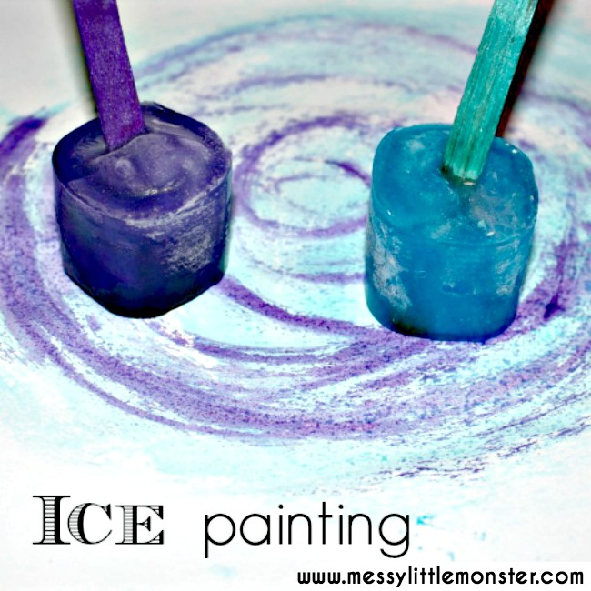 Taste safe ice painting. An easy and fun painting idea for kids.  Babies, toddlers and preschoolers will love this fun process art technique. Great for winter projects, learning colours, exploring freezing and melting or for playing with outside in the summer.