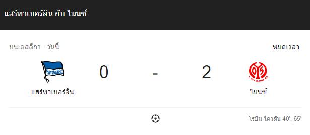 แทงบอลออนไลน์ ไฮไลท์ เหตุการณ์การแข่งขัน แฮร์ทาเบอร์ลิน vs ไมนซ์ 05