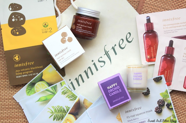 Innisfree Real Quinea Mask, Jeju Volcanic Blackhead 3 Step Jeju Program, Happy Orchid Candle